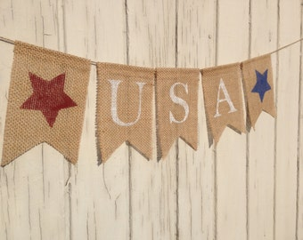 USA Banner, Patriotic Banner, Patriotic Bunting, 4th of July Banner, Patriotic Decor, Burlap Banner, Burlap Bunting Garland, Photo Prop