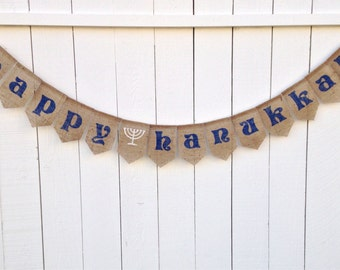 Happy HANUKKAH Burlap Banner, Hanukkah Bunting, Hanukkah Garland, Hanukkah Decor, Menorah, Star of David, Photo Prop, Rustic Holiday