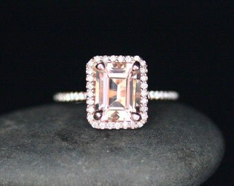 Pink Morganite Rose Gold Engagement Ring in 14k With Morganite Emerald Cut 9x7mm and Diamonds