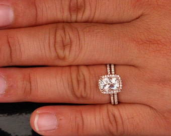 14k Rose Gold 8x6mm White Topaz Cushion Engagement Ring and Diamond  Wedding Band Set (Choose color and size options at checkout)