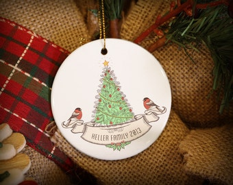 Customizable Christmas Ornament: Birds with Vintage Tree
