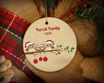 Customizable Christmas Ornament: Owl Family with a Nest