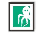 Partial Octopus Art Print - Childrens Wall Art, Nautical Wall Decor, Sea Nursery, Beach Art Print, Nautical Bathroom, Ocean Nursery, Sea Art