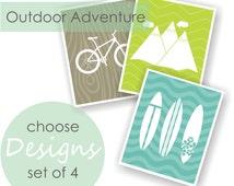 Adventure Nursery Art Prints, Surf Nursery, Nature Nursery, Playroom Art, Outdoor Adventure - Set of 4, CHOOSE COLOR & BACKGROUNDS