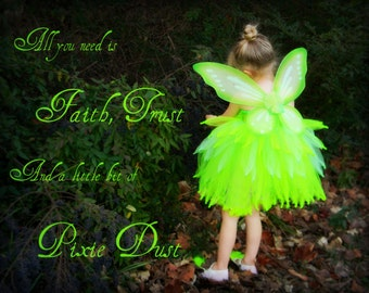 "Neon Green Tinkerbell Fairy Pixie Wings 24""x19"""