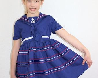 Girl Cotton Nautical Vintage Dress Girls Size 7