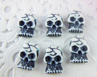 12pcs Resin Skull flat back cabochon 10x15mm