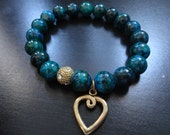 Chrysocolla Gemstone Beaded Bracelet with Gold Plated Connectors