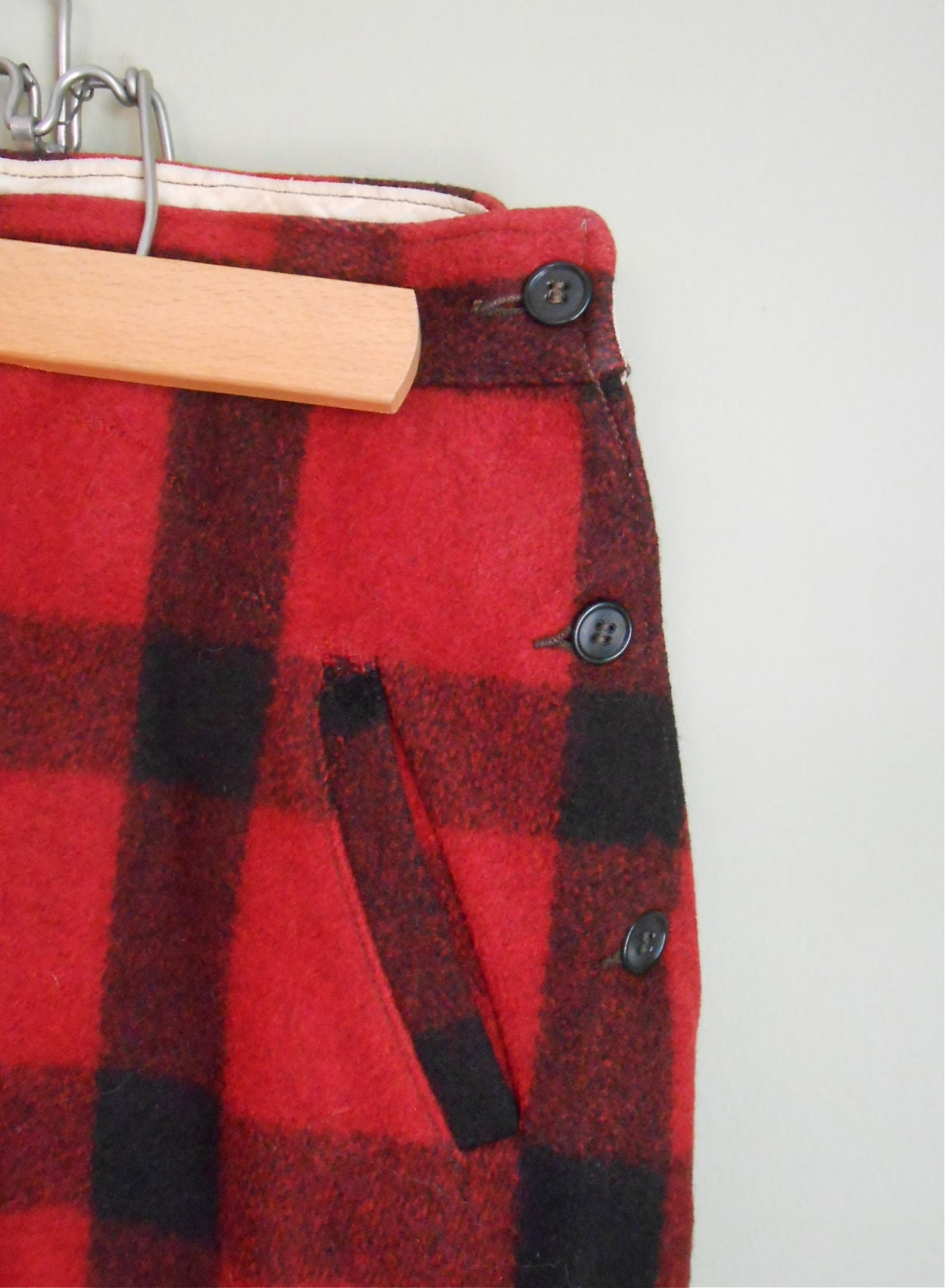 Elegant  Hunting Pants JC Higgins Red And Black Plaid Wool Hunting Pants