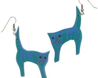 Earrings Dangle Green Blue Cat Charm Novelty Vintage 1980s