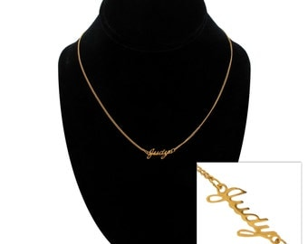 "Script Name Judy Charm Pendant Gold Tone Necklace 16"" Vintage 70s"
