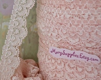 3yds Pink Stretch Lace Trim Stretch Scolloped edge 5/8 inch Light Pink lace Elastic Stretch Lace Headband Single side Lace Trim RLzz