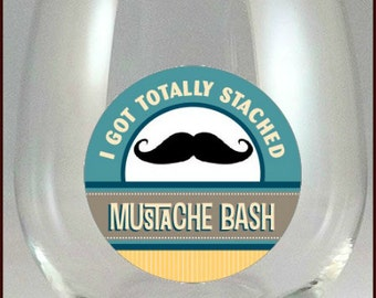 Mustache Bash Glass Decals - Glass Tags - Mustache Bash Wine Charms, Mustache Glass Decals - Mustache Bash Decorations, Glass Not included
