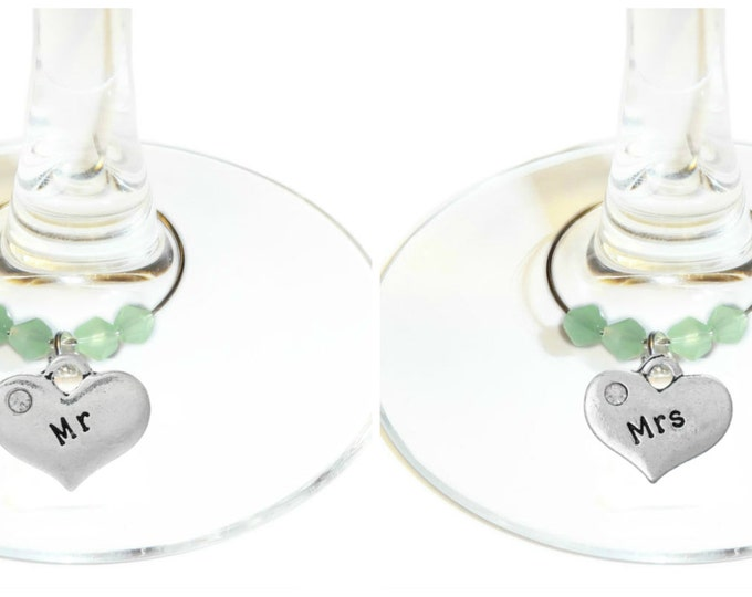 Mr. And Mrs. Wine Charms - Bride And Groom Wine Charms - His And Hers Wine Charms - Wedding Party Favors - Mr. and Mr. - Mrs. and Mrs.