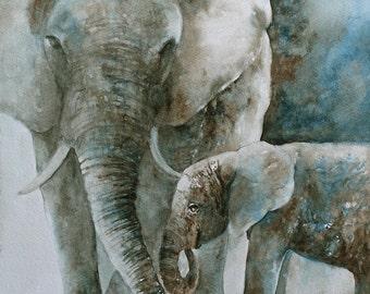 boy nursery art boy nursery wall art CANVAS REPRODUCTION large elephant painting elephant painting on canvas wall hanging elephant baby big