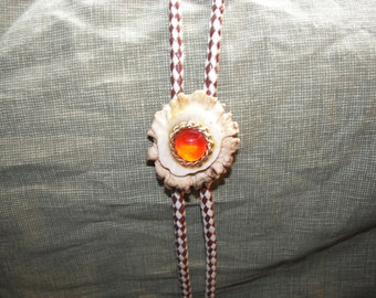 Orange Marble with Gold Chain on Antler Button Bolo Tie