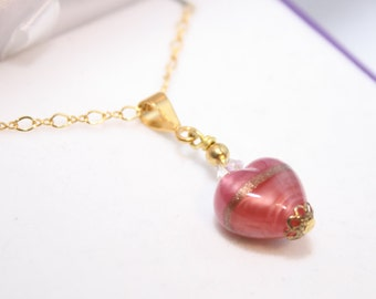 Pink Murano Glass Baby Heart Necklace