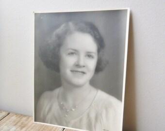 Vintage photo Pretty Young lady black and white paper ephemera