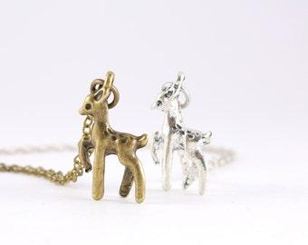 SALE-Tiny Deer Necklace, Reindeer Necklace- WAS 12 NOW 8