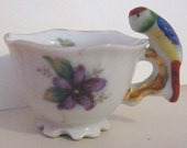 Tiny 1.75 inch tall Parrot Handled miniature cup