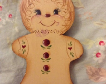 Country Christmas Hand Painted Gingerbread Man handmade.