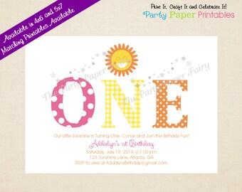 Sunshine Birthday Invitation, Sunshine Invitation, Sunshine Party Invitation Yellow & Pink - PRINTABLE, DIY by Party Paper Printables