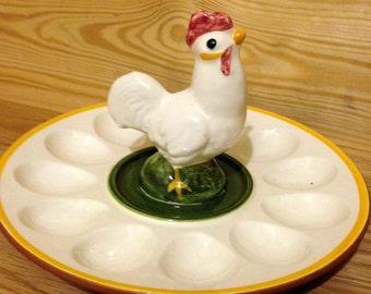 Stangl Rooster Deviled Egg Dish