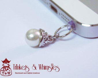 Pearl Drop Dust Plug and Cellphone Charm