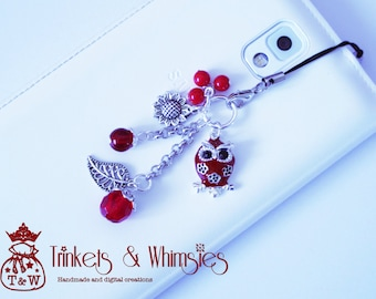 Red, Wise & Sassy Dust Plug and Cellphone Charm