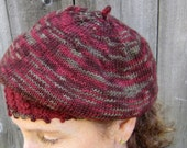 Knit Wool Beret, Rich Red Slouchy Cap