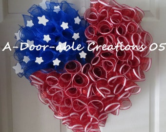 Patriotic Heart Deco Mesh Wreath...American Flag Wreath..Stars and Stripes Wreath..Memorial