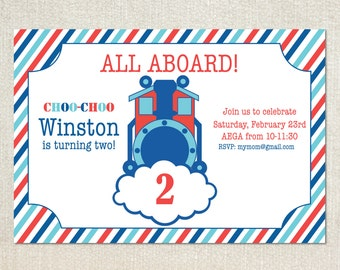 Train thomas the train choo-choo birthday party invitations