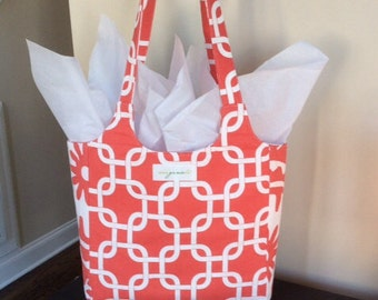 You will love this bag.. Premier Prints  coral/white