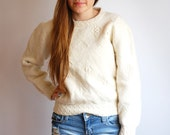 Vintage wool sweater / Cream geometric pattern sweater, extra small