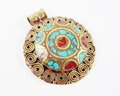 Ethnic Turquoise Coral Tribal Brass Pendant No:42- Tibetan Nepalese Handmade
