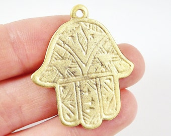 Etched Hamsa Hand of Fatima Pendant Charm - 22k Matte Gold Plated - 1PC