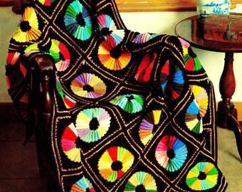 Vintage Crochet Pattern - Circle Color Wheel Afghan - Throw Blanket - PDF Instant Download - Lap Blanket - Rainbow Afghan - Couch Throw Vtg