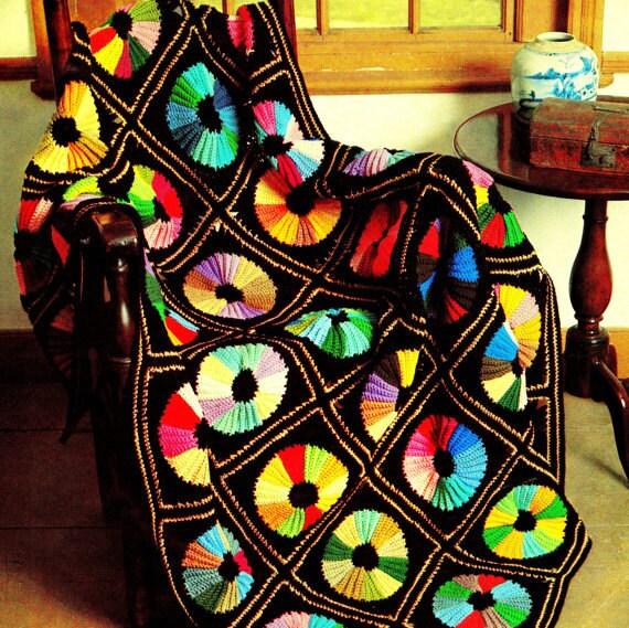 Vintage Crochet Pattern Circle Color Wheel Afghan Throw