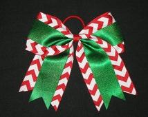 "New ""CHRISTMAS CHEVRON GLITTER"" Cheer Bow Pony Tail 3 Inch Ribbon Girls Cheerleading Dance Practice Football Games Uniform Holiday"