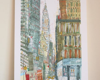 CHRYSLER BUILDING New York City Art, Glaser Bake Shop NYC Manhattan Taxi, New York Watercolor Painting, Signed Limited Edition Giclee Print