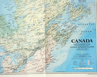 Large 1980s Frame-able Geographic Map of Canada