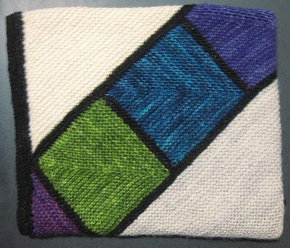 High Street Shawl - multicolor modular garter stitch knit shawl looks like st...
