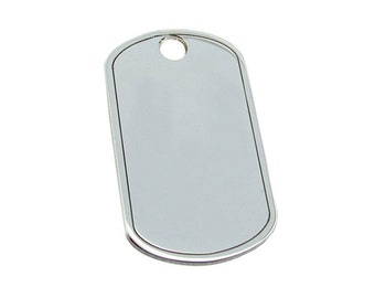 Sterling Silver Dog Tag Pendant with Engraved Personalised Options  - Gift for Men - Gift for Son Husband Him - 18th 21st Birthday Gift -