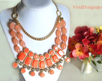 Coral Statement Necklace - Coral Briolette Big Chunky Bib Bubble Statement Necklace.
