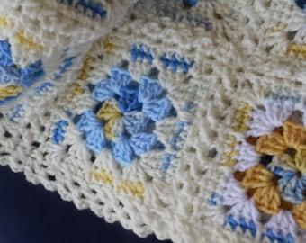 Extra long Crochet afghan sofa throw,Granny square, unique edging, handmade crochet sofa throw in blue yellow & white shades, Ready to ship