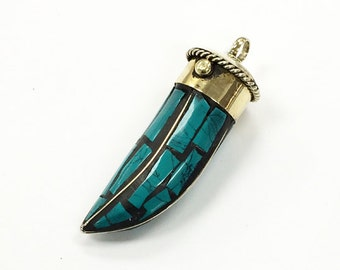 Tibetan Horn Tusk tooth Pendant Turquoise Inlaid with brassgold cap (TP101-TQ)