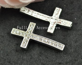 5pcs 17x33mm Silver Plated White Rhinestone Sideways Cross Charms Connectors