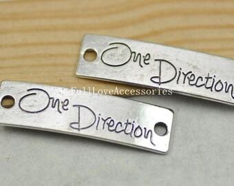 10pcs Antique Silver Sideways One Direction Charms Connectors 10x39mm One Direction Charm tag Connector