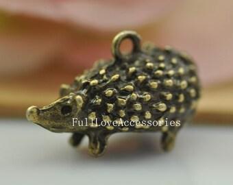 3pcs Antique Brass Hedgehog Charms Pendant 14x14x25mm Antique Brass Hedgepig Animal Charms Pendant