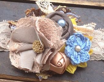 Mustard Yellow, Tan, Sky Blue, Brown, Women's Fabric Flower Headband, Girls Hair Bow, Hair Flowers, Brown Headband, Mustard Yellow Headband